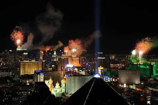 New Year's fireworks light up the Vegas strip.