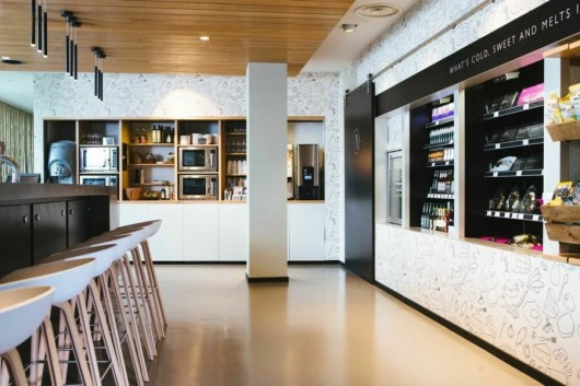 """Moxy's """"grab and go"""" self-service food kiosks will be paired with communal kitchens."""