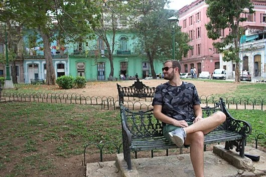 A short rest amid colorful Cuban buildings. I love Havana!