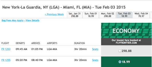 New York (LGA)-Miami for $19 one-way!