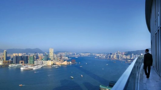 The incredible balcony (and view) from the Four Seasons Hong Kong