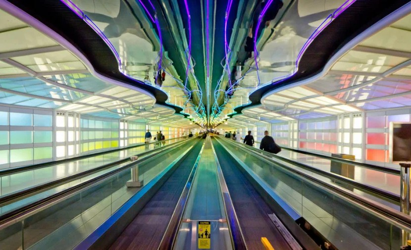 Neon lights at O'Hare (Photo courtesy of Nicola on Flickr)