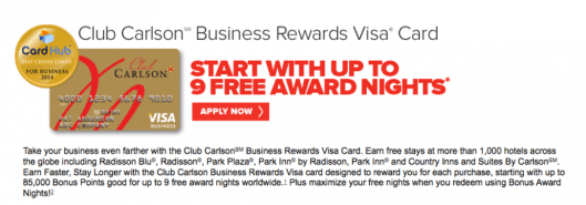 The Club Carlson Business Rewards Visa includes an array of valuable benefits and a great sign-up bonus.