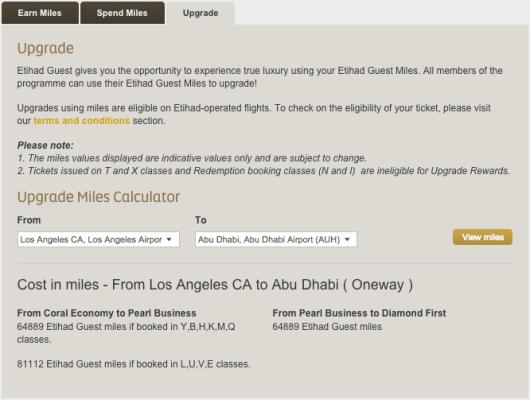 Etihad LAX-AUH upgrade miles