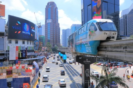 Kuala Lumpur's Bintang Walk and monorail. Photo courtesy of Shutterstock.