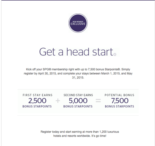 7,500 Starpoints is a fantastic jump start to anyone's account.
