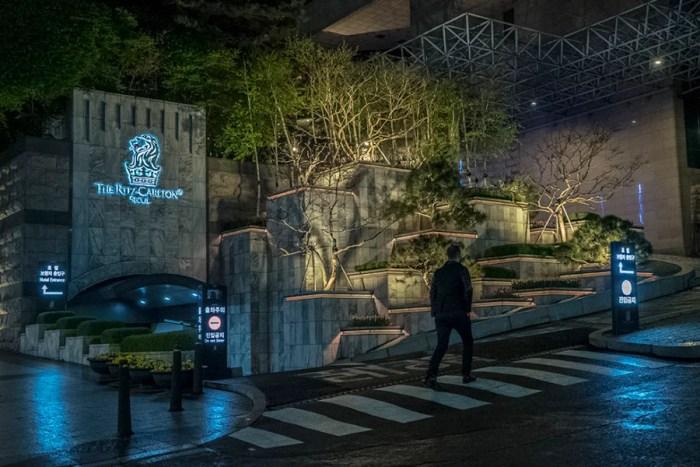 Walking up to the stylish Ritz-Carlton Seoul