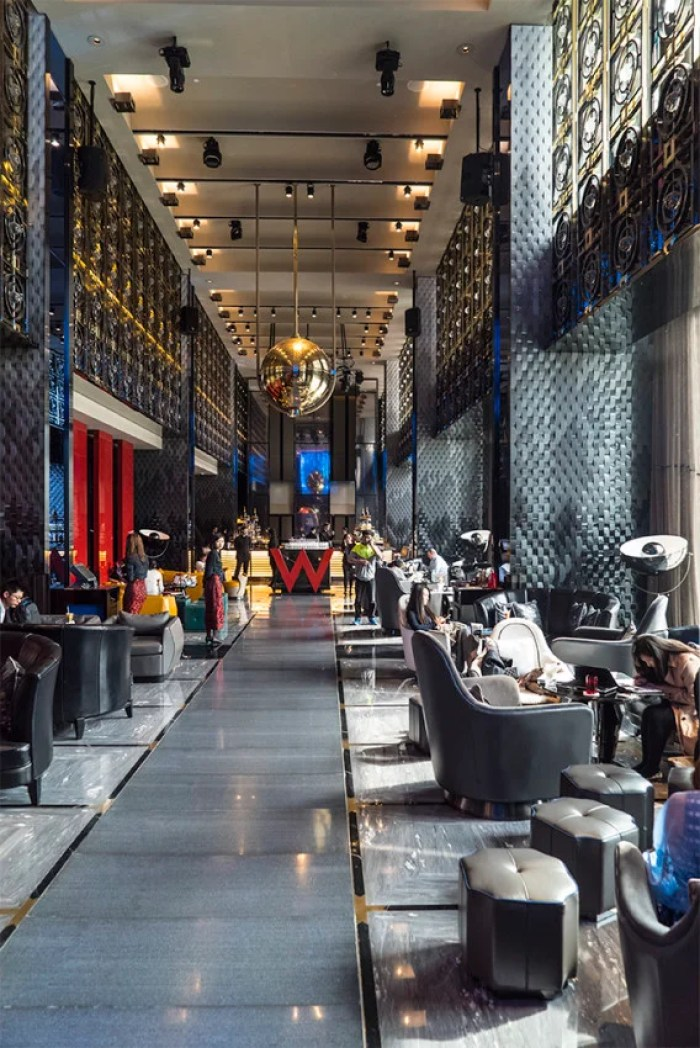 Walls of windows make the public areas of the W Beijing-Chang-An feel even more massive in the day.