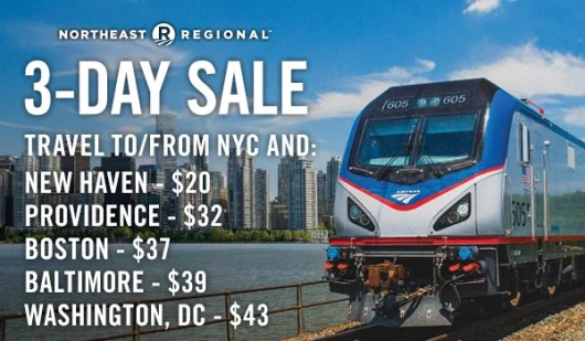 Amtrak is currently offering a 3-day sale on several of their routes.