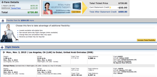 Los Angeles-Dubai booking through United