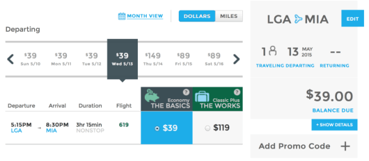 Head from New York (LGA) to Miami for just $39 one-way.