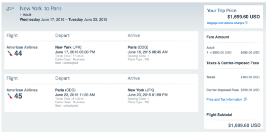 New York-Paris for $1,699