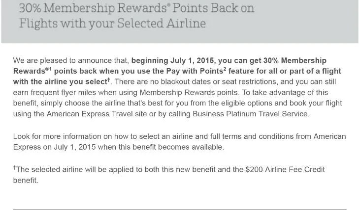American Express will be adding a 30% Pay with Points credit.