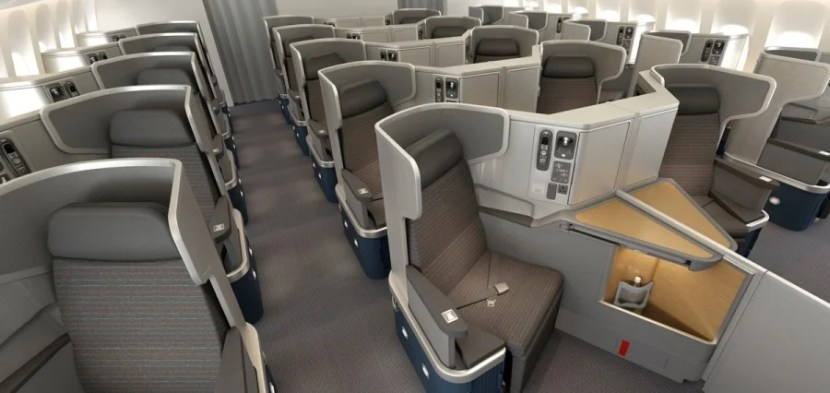 American's 777-300ER business-class seats are new and in the popular reverse-herringbone configuration.