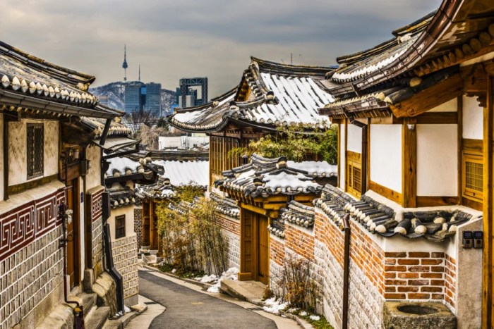The Bukchon Hanok village with a modern Seoul peeking through behind. Photo courtesy of Shutterstock.