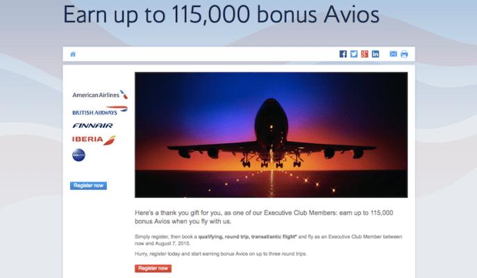 British Airways transatlantic bonus