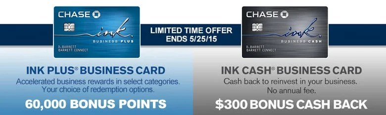 60 000 Bonus Points for Chase Ink Plus $300 for Ink Cash