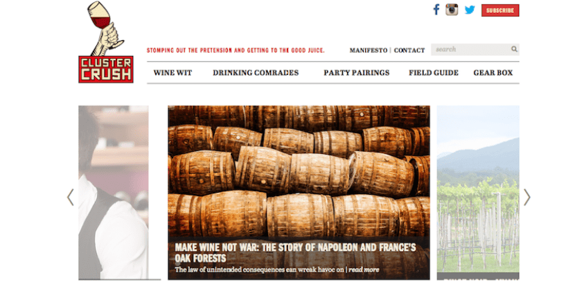 Check out Eric's new wine site, Cluster Crush.