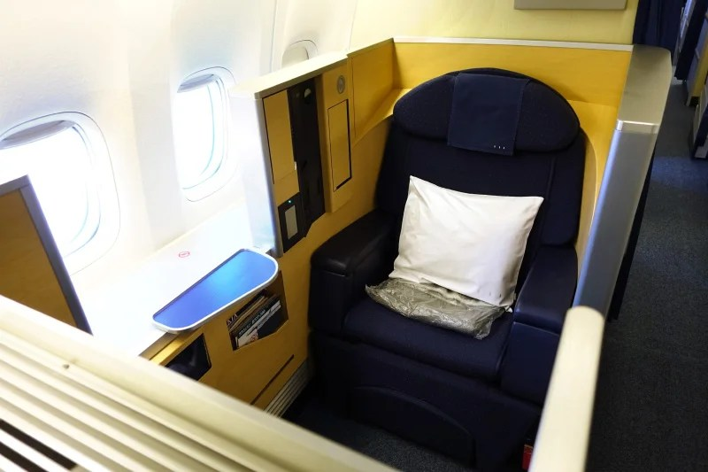 A first-class seat on ANA's 777-300ER.
