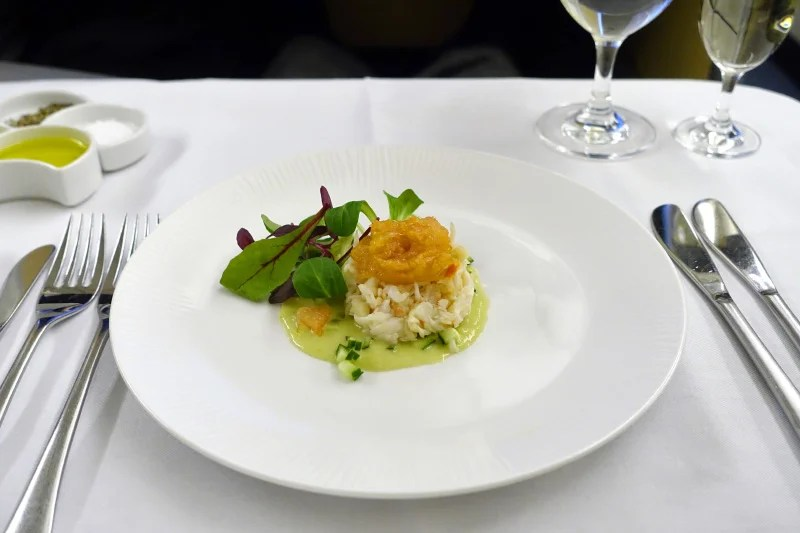 The delicious ANA first-class crab appetizer.
