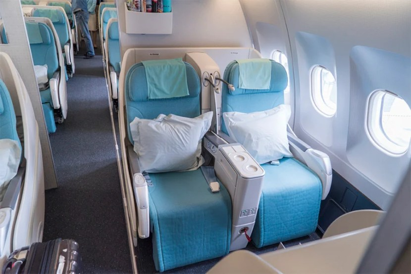 The first class cabin looked more like an outdated business class.