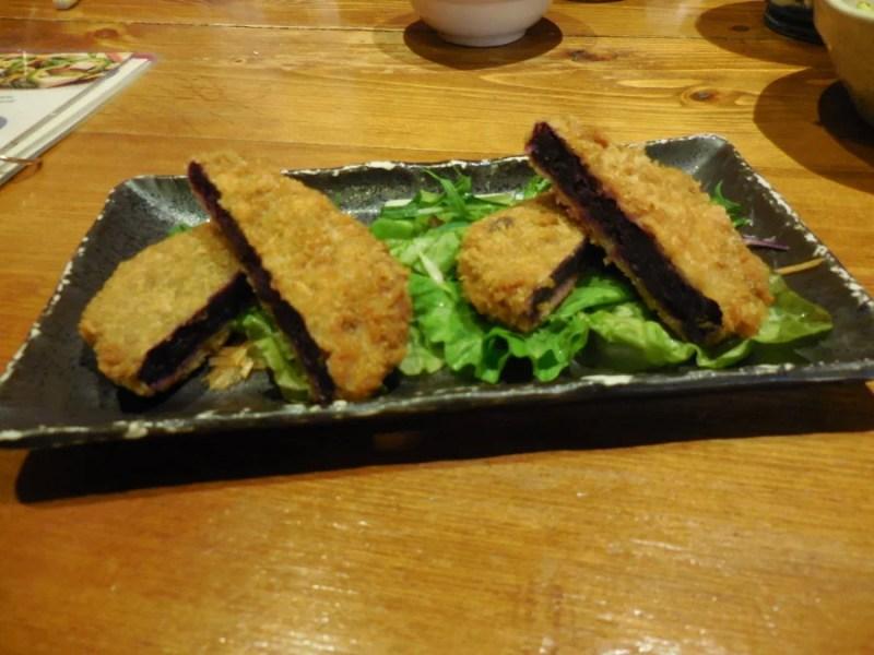 Okinawan Beni-Imo croquettes, a purple sweet potato.