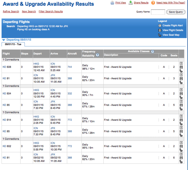 ExpertFlyer displays tons of award availability.