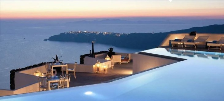 The Grace Santorini pool is the perfect place to enjoy the sunset