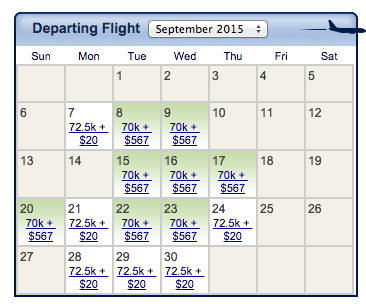The monthly view on Alaska shows Emirates space with only $20 in carrier imposed surcharges.