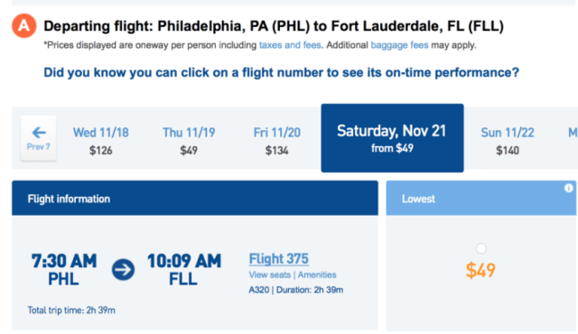 Head from Philadelphia to Ft. Lauderdale for $49 each way.