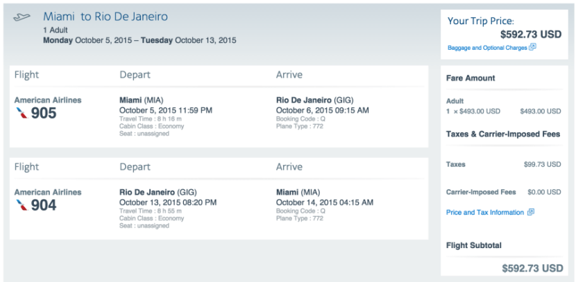 Miami (MIA) to Rio (GIG) for $593.