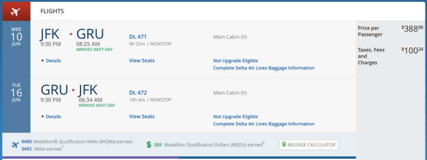 New York-São Paulo for $488.24 on Delta.