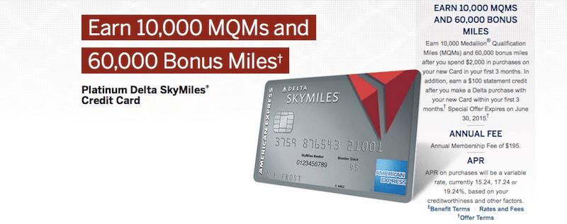 The Platinum Delta SkyMiles card is offering a limited-time sign-up bonus of 60,000 bonus miles plus MQM's!