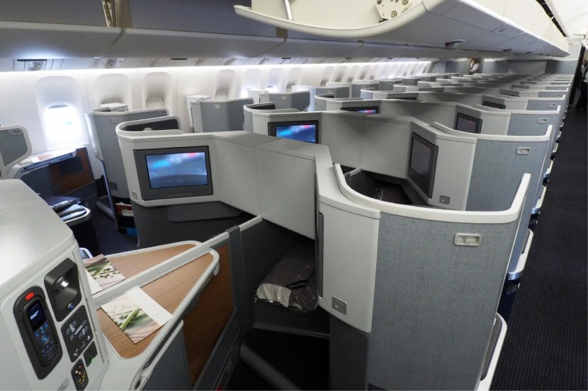 AA's main business-class cabin from the rear.