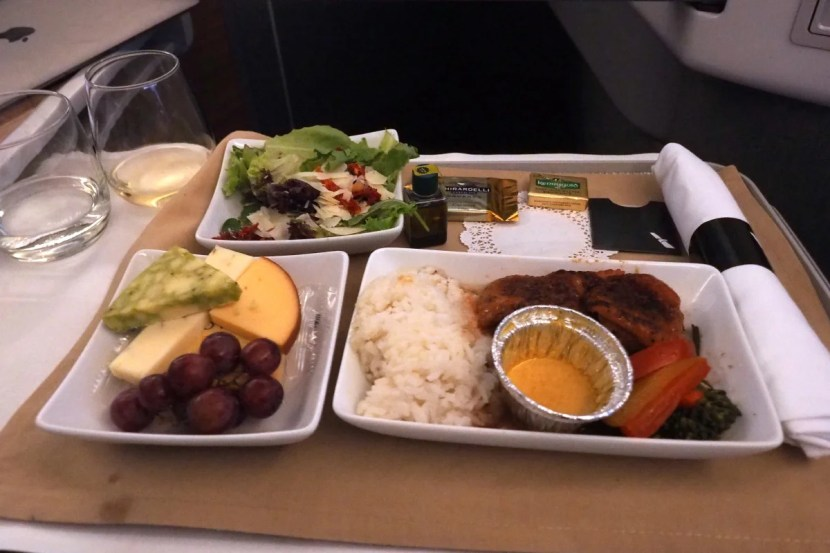 AA's roasted duck breast. A salad, entree and cheese plate were served on a single tray.