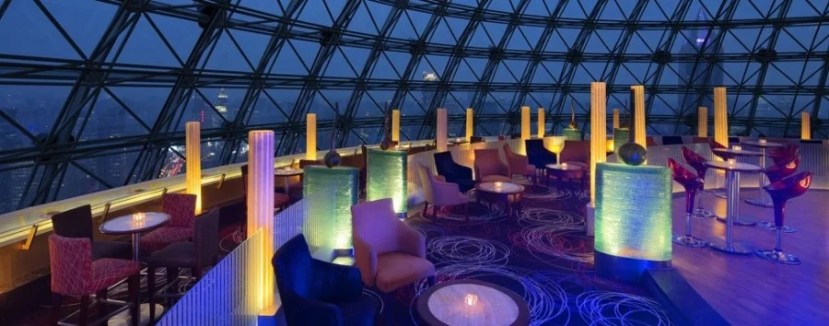 The 47th-floor Sky Dome Bar offers stunning views and a lively scene into the early morning hours.