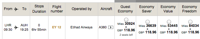 The award search view from Etihad.com showing the different tiers of award flights.