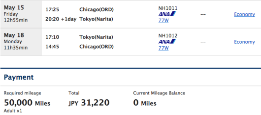 ANA charges only 50,000 miles roundtrip from North American to Japan but also charges $260 in fees.