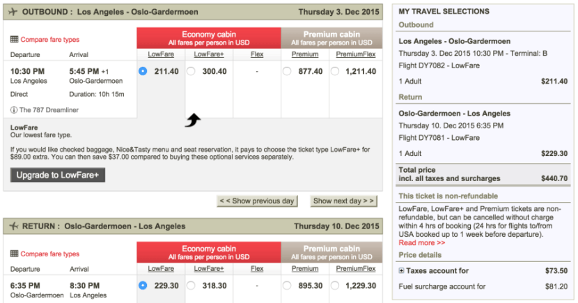 Los Angeles (LAX)-Oslo (OSL) for $441 on Norwegian.