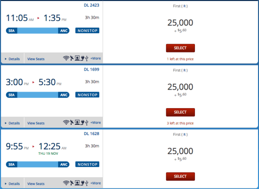 All three Seattle to Anchorage flights on November 18th are available for mileage upgrades.