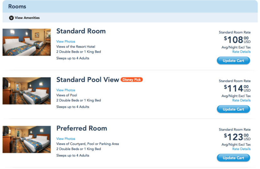 Example of room rates at Disney's Pop Century Resort.