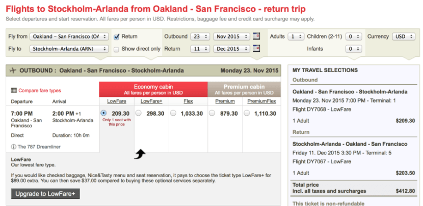 Oakland to Stockholm for $412 on Norwegian:
