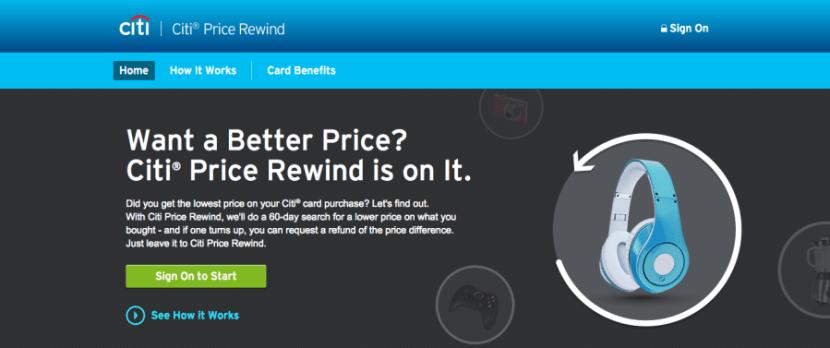 Price rewind landing page