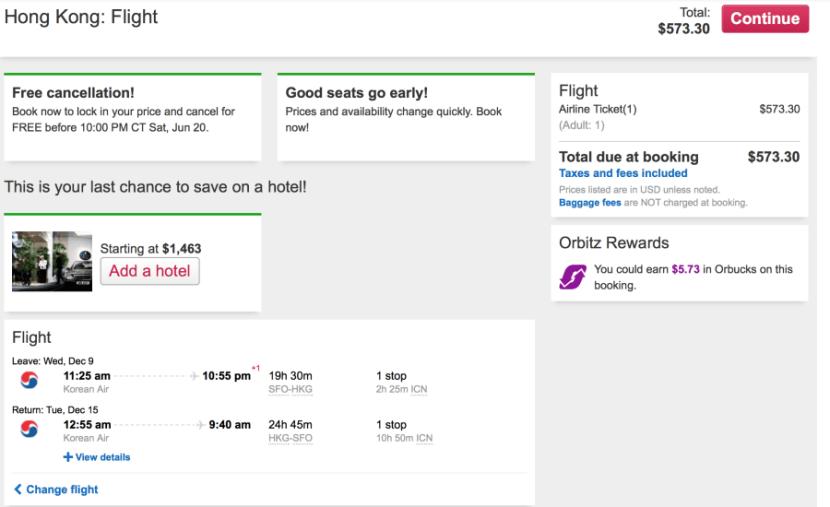 San Francisco (SFO)-Hong Kong (HKG) on Korean Air for $573