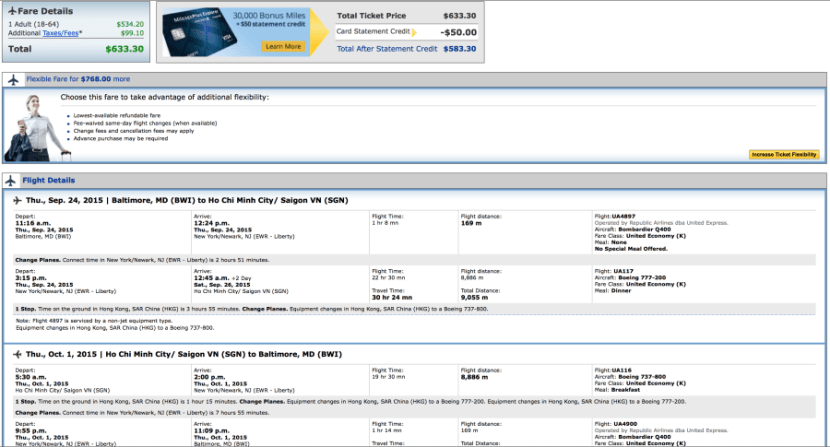 Baltimore to Ho Chi Minh City for $633 round-trip on United.