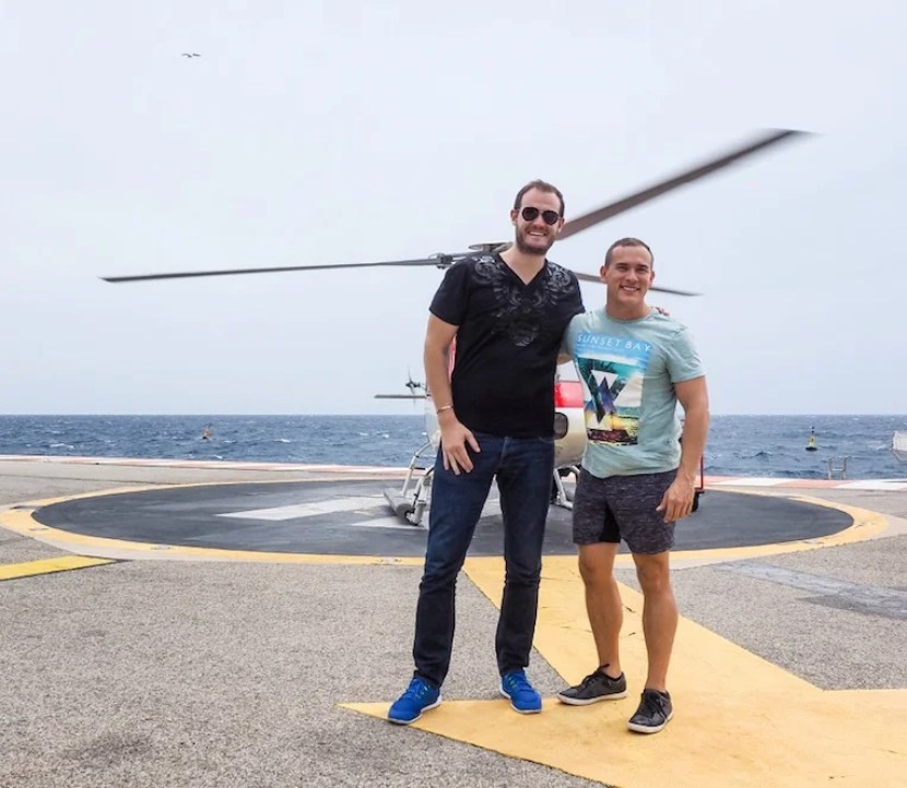After landing in Monaco, right next to the sea!