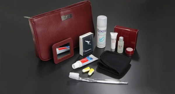 Qantas's first class amenity kits include SK-II products.