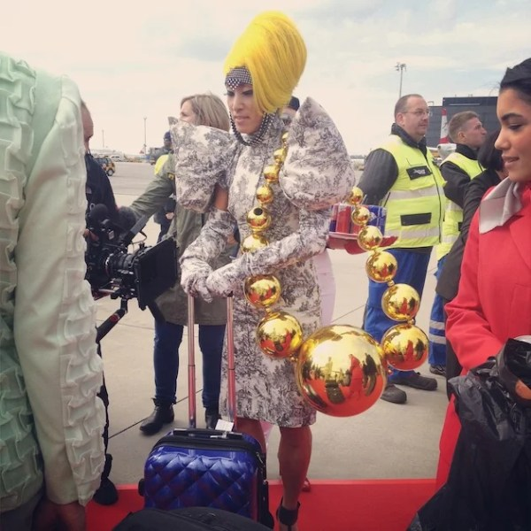 """Does that fit in the overhead bin, darling? Photo courtesy of <a href=""""http://www.papermag.com/2013/06/lifeball_plane.php"""">PAPERMAG</a>"""