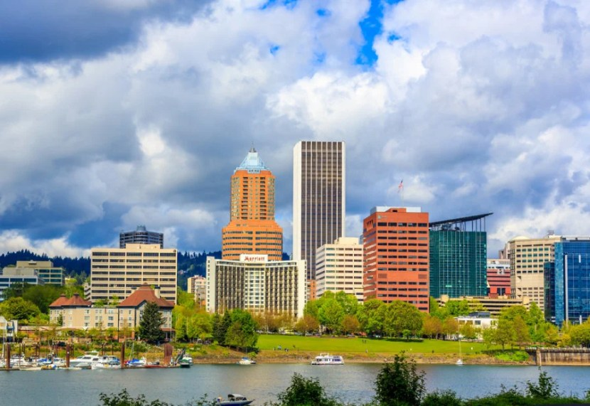 Part of Portland's Waterfront Park, as seen from the Eastbank Esplanade (Photo courtesy of Shutterstock)
