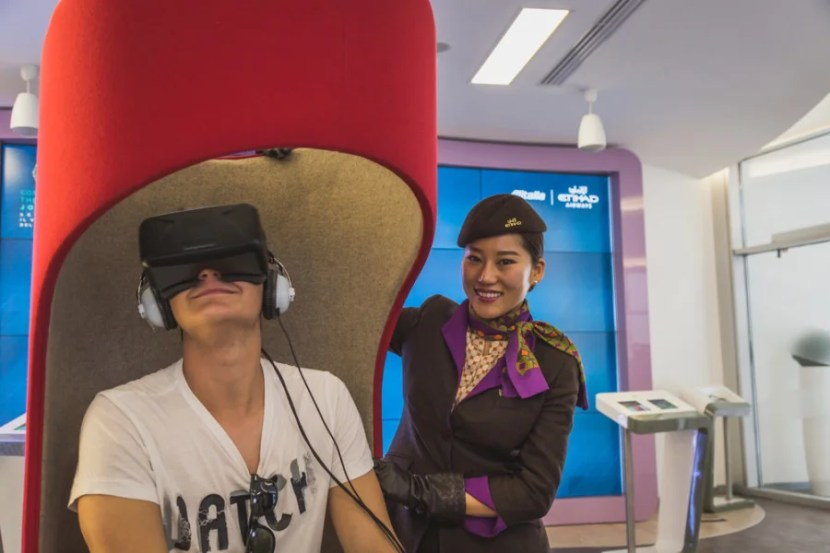Oculus Rift virtual-reality experience at the Milan Expo Etihad/Alitalia Lounge. Photo courtesy of Shutterstock.